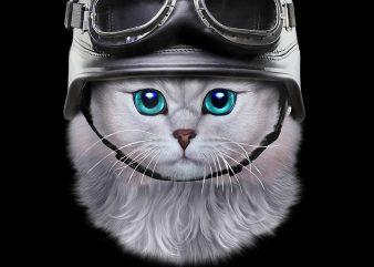 Cute White Tabby Cat wearing Motorcycle Biker Helmet PNG Download – Funny Kitten Digital t shirt vector file