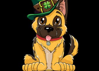 German Shepherd Leprechaun St Patricks Day Dog PNG Download – St Patricks Day Digital – Dog Lover PNG File t shirt design template