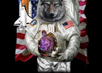 Patriotic Wolf as USA America Astronaut PNG Download – Patriotic Digial Files – 4th of Jully Gifts t-shirt design for commercial use