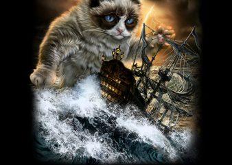 Persian Kraken Cat Attacking Ship PNG Download – Funny Kitten Digital File shirt design png
