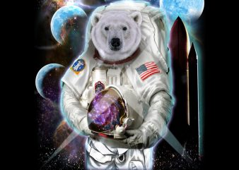 Polar Bear in Astronaut Suit, Space Shuttle Moon PNG Download – 4th of July Digital File – Independence Day Gifts t shirt illustration