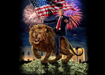 Republic President USA America Trump on Vicious Lion PNG Download – 4th of July Digital Files – Independence Day Gifts t shirt design online