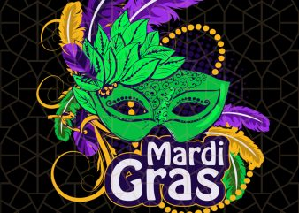 Mardi Gras 2020 Beads Mask Feathers PNG Download – Mardi Gras Digital Download t shirt designs for sale