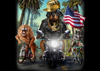 Rottweiler Dog Riding Motorcycle on California Boulevard PNG Download – 4th of July Digital Files – Independence Day Gifts t shirt design online