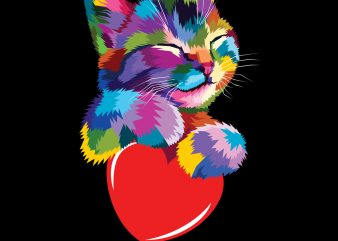 Cute Cat Gift for kitten lovers Colorful Art Kitty Adoption PNG Download – Valentine Day Digital t shirt vector file