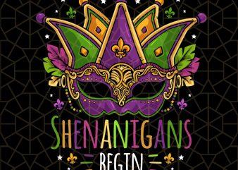 Mardi Gras Costume Let The Shenanigans Begin Mask PNG Download – Mardi Gras Digital Download t shirt designs for sale