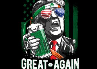 Make St Patricks Day Great Again Leprechaun Trump American Flag PNG Download – St Patricks Day Digital – Funny Leprechaun Gifts t shirt designs for sale