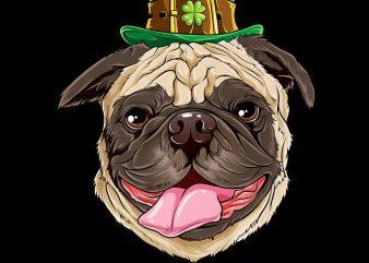 Pug Dog Leprechaun St Patricks Day Dog Lover PNG Download – St Patricks Day Digital – Funny Leprechaun Gifts t shirt illustration