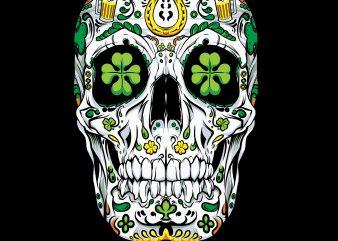 Sugar Skull LeprechaunSt Patricks Day PNG Download – St Patricks Day Digital – Funny Leprechaun Gifts t shirt template vector