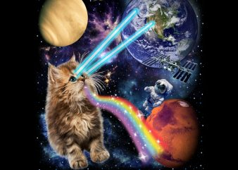 Fluffy Kitten Shoot Laser Rainbow Space Galaxy, Cat PNG Download – Funny Kitten Digital Download t shirt graphic design