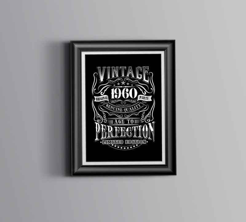 Vintage 1960 – Age to Perfection tshirt design for merch by amazon