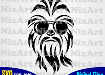 Wookie svg, chewbacca svg, sunglasses svg, star wars svg, eps, png files for cutting machines and print t shirt designs for sale