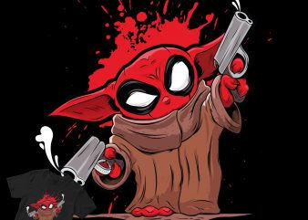 YODAPOOL , Baby Yoda with deadpool costume funny design graphic t-shirt design