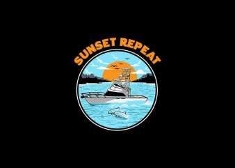 Sunset Repeat Vector Tshirt Design