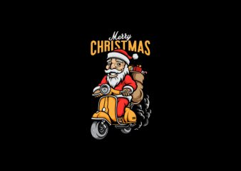 Santa Ride a Scooter Vector t-shirt design
