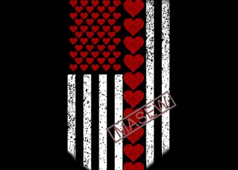 Red Heart American Flag Funny Valentines Day USA Patriotic Flag Dasign SVG PNG Silhouette Cutting File Cricut Digital Download t shirt design online
