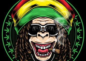 Reggae Ape vector t-shirt design for commercial use