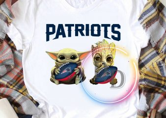 Baby Yoda with Groot New England Patriots Baby Yoda Funny Football Fan T shirt, Football US