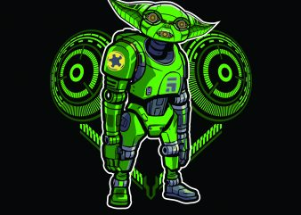 new baby yoda robotic T shirt vector artwork