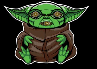 cute baby yoda cyborg t shirt vector file
