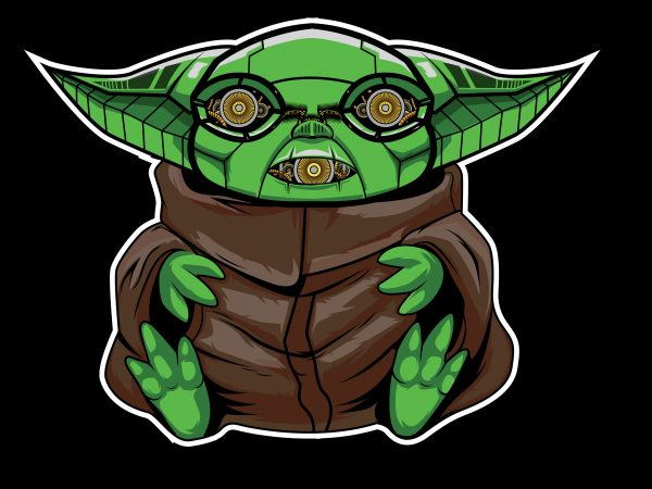 cute baby yoda cyborg vector t-shirt design for commercial use