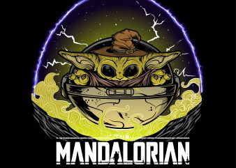 new the mandalorian wizard baby yoda lighting T shirt vector artwork