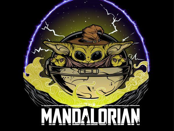 new the mandalorian wizard baby yoda lighting t shirt design to buy