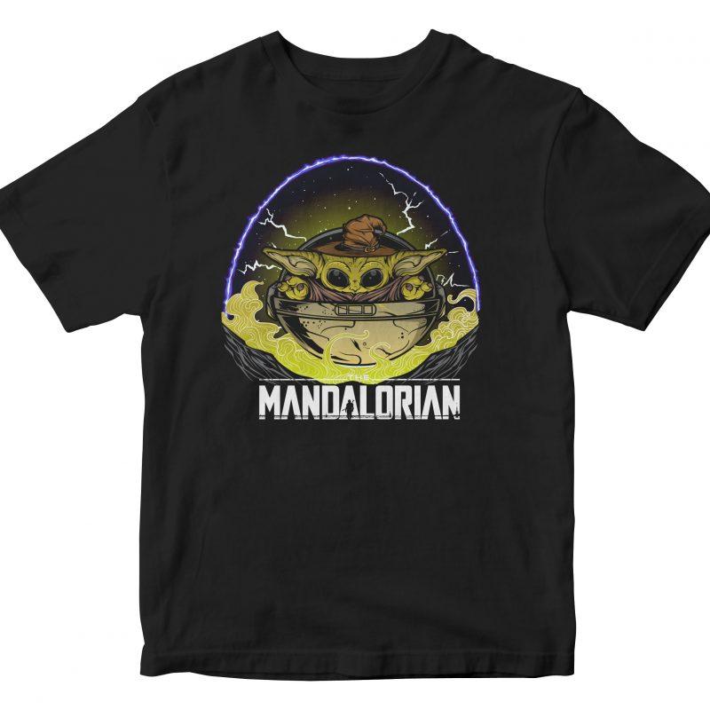 new the mandalorian wizard baby yoda lighting t-shirt designs for merch by amazon
