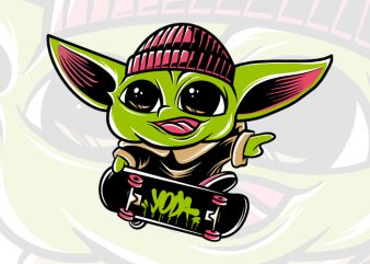 Baby yoda skateboarding psd, the mandalorian the child , baby yoda png, star wars skate, png, the child png t shirt template