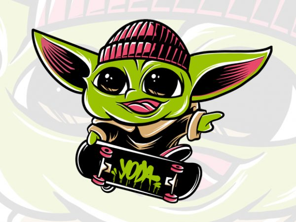 Baby yoda skateboarding psd, the mandalorian the child , baby yoda png, star wars skate, png, the child png t shirt template