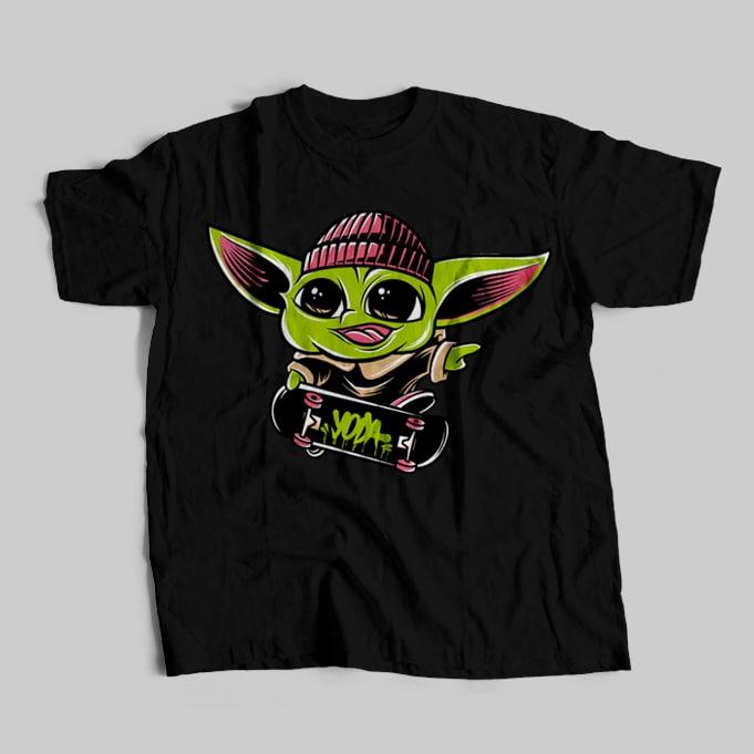 Baby yoda skateboarding psd, the mandalorian the child , baby yoda png, star wars skate, png, the child png t shirt template buy tshirt design