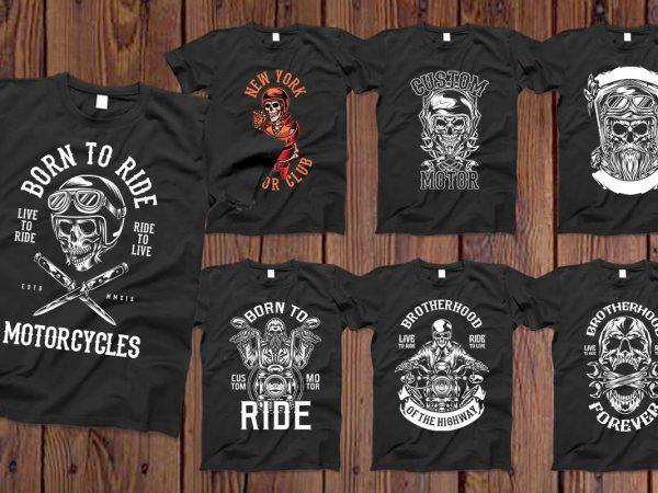 Bundle Skull Bikers vector designs 50%OFF