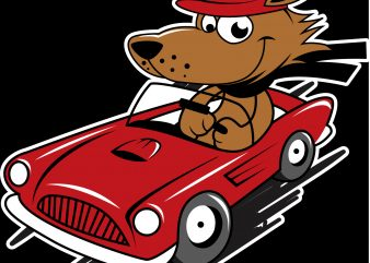 car pug cartoon t shirt vector file