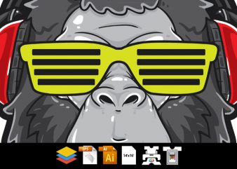 Cool Gorilla Head t shirt vector file