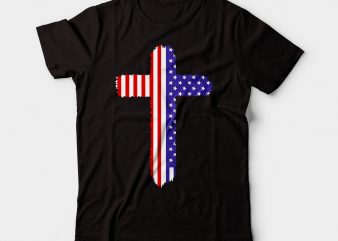 cross american flag tshirt design | christian deign