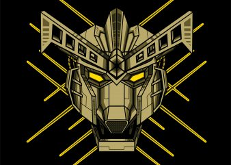 cyborg robotic gundam vector t-shirt design