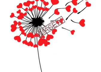 Dandelion svg, Valentine svg, dandelion wish svg, Woman svg, Love svg, Heart Dandelion svg, iron on, clipart, decal, SVG, eps, png,dxf t shirt vector illustration