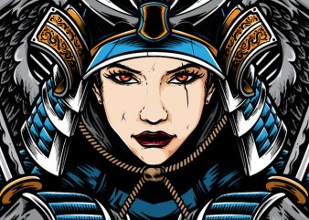 Female Samurai vector t shirt design artwork