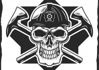 Firefighter's skull with helmet t shirt design for purchase