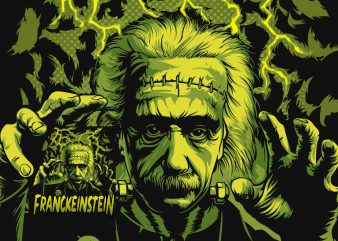 Albert Einstein or Frankenstein halloween graphic t-shirt design