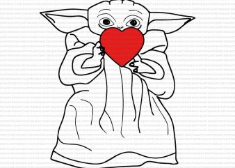 Baby yoda heart png,Baby yoda heart,Baby yoda valentines png,Happy valentine's day png,Happy valentine's day baby yoda png,Happy valentine's day baby yoda commercial use t-shirt design
