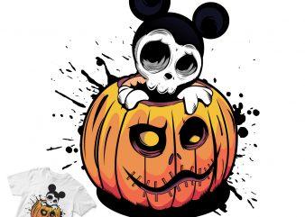 mickey mouse halloween design skull t-shirt design png