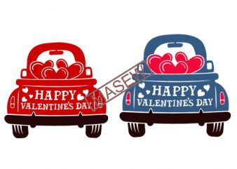 Valentine's Red Truck Svg, Happy Valentine's Day Svg, Dxf, Eps, Png, Vintage Truck Svg, Love Truck Svg, Hearts, Silhouette, Cricut Cut Files t shirt vector art