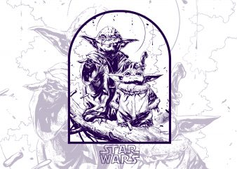 baby yoda with Papa the mandalorian starwar t shirt template