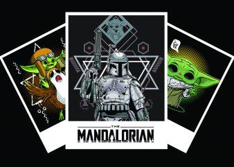 THE MANDALORIAN BABY YODA, STARWARS FILM t shirt designs for sale