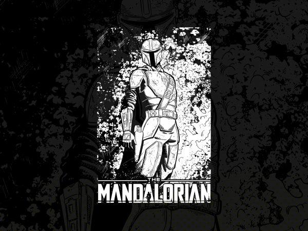 The mandalorian baby yoda print ready vector t shirt design