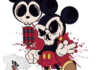 mickey mouse bom cartoon skull graphic t-shirt design