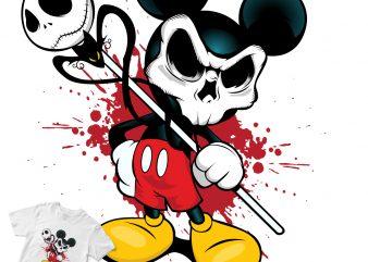 mickey mouse skull cartoon t shirt design template