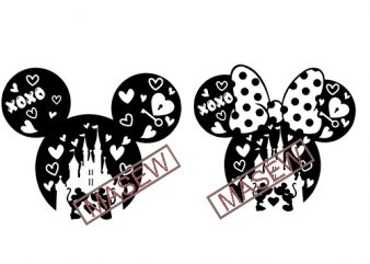 Disney Valentine SVG 2020, Mickey Valentine SVG, Minnie Valentine SVG, Love Disney svg, Disney Valentine Castle svg, Disney shirt svg EPS SVG PNG DXF digital download t shirt vector illustration