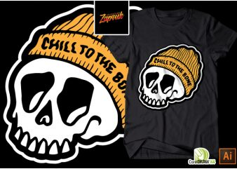 Skull Chill T-shirt design vector